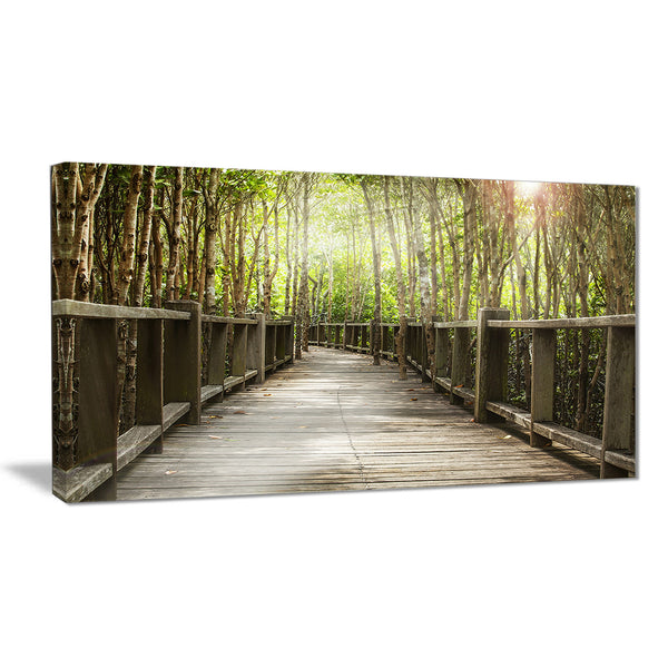 wooden bridge in forest landscape photography canvas print PT6482