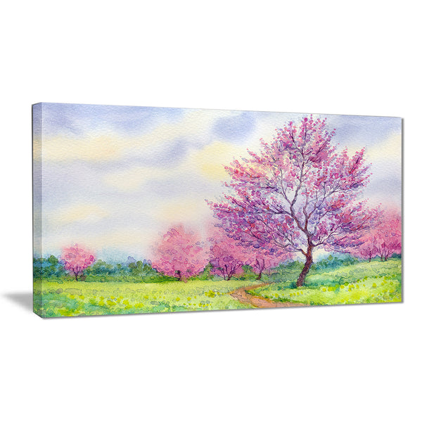 purple spring landscape floral canvas art print PT6498