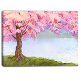 flowering pink tree by lake floral canvas art print PT6504