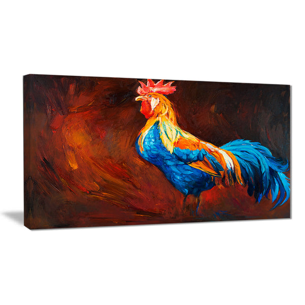 blue and orange rooster animal canvas art print PT6518