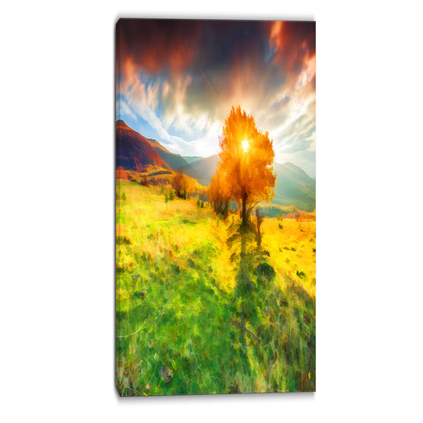lonely autumn tree landscape canvas art print PT6519