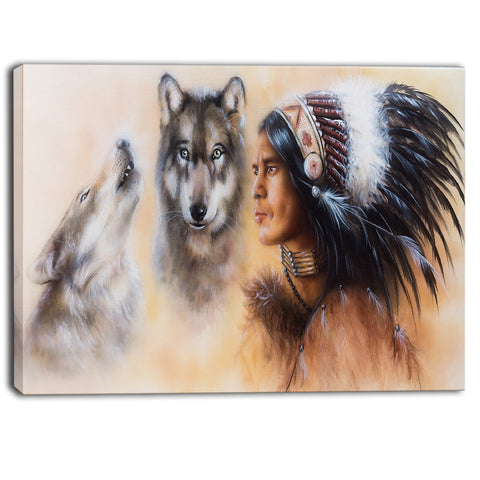 indian warrior with two wolves animal canvas art print PT6539