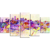 purple new york skyline cityscape canvas art print PT6540