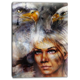 woman with flying eagles portrait canvas art print PT6544