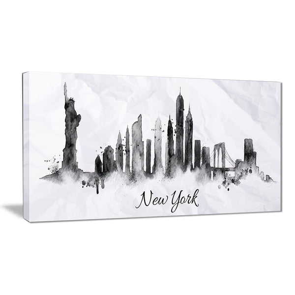 silhouette ink new york cityscape canvas art print PT6546