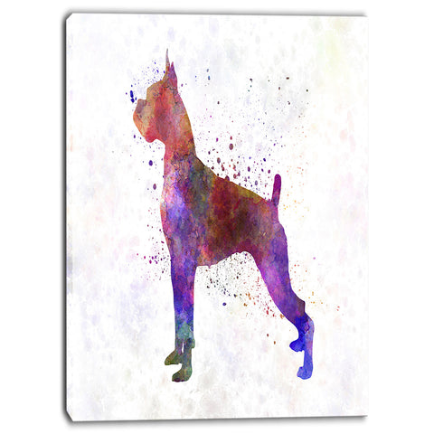 boxer in watercolor animal canvas art print PT6551