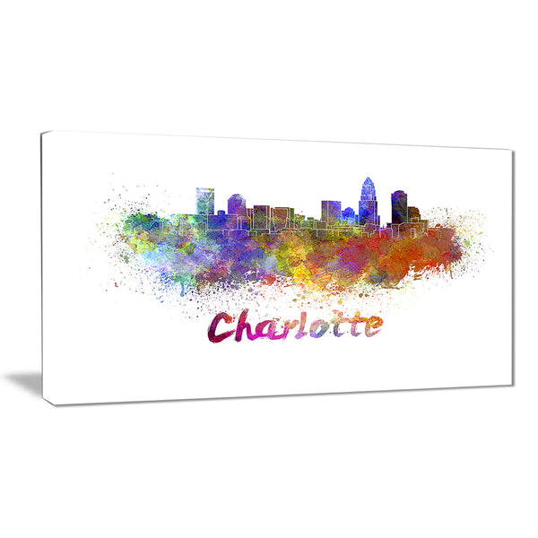 charlotte skyline cityscape canvas artwork print PT6580