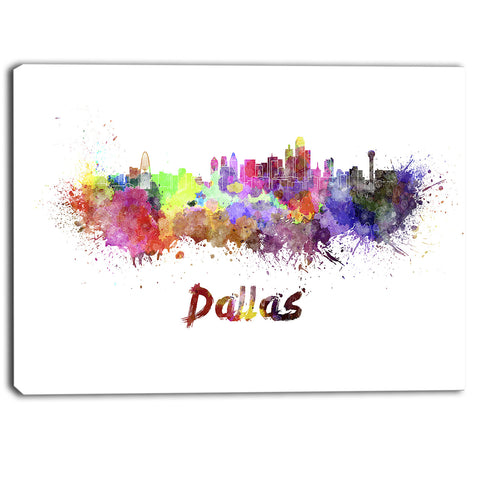 dallas skyline cityscape canvas artwork print PT6581