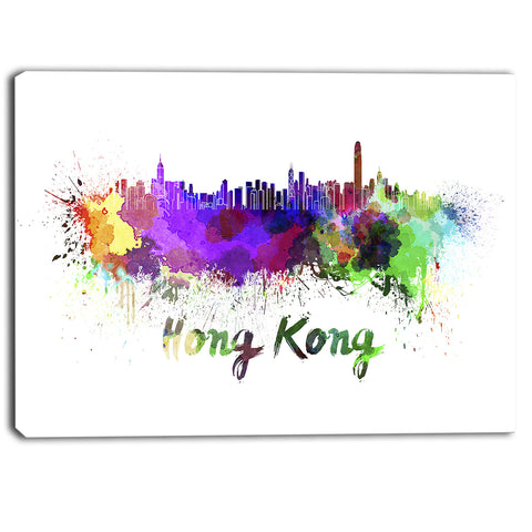hong kong skyline cityscape canvas artwork print PT6587