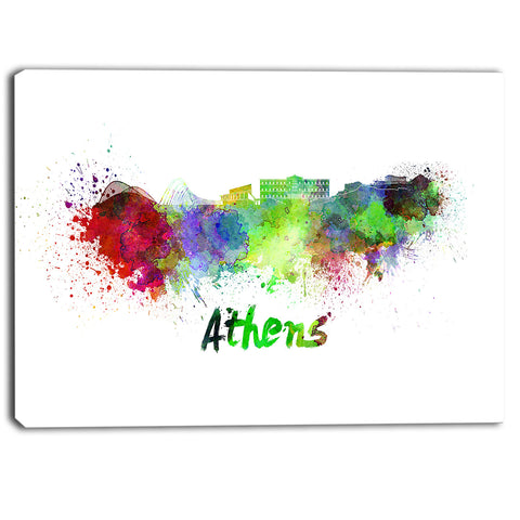athens skyline cityscape canvas artwork print PT6604
