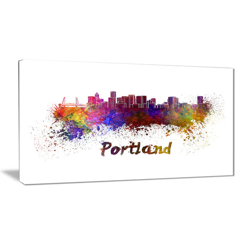 portland skyline cityscape canvas artwork print PT6605