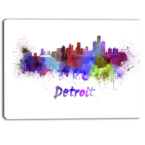 detroit skyline cityscape canvas artwork print PT6611