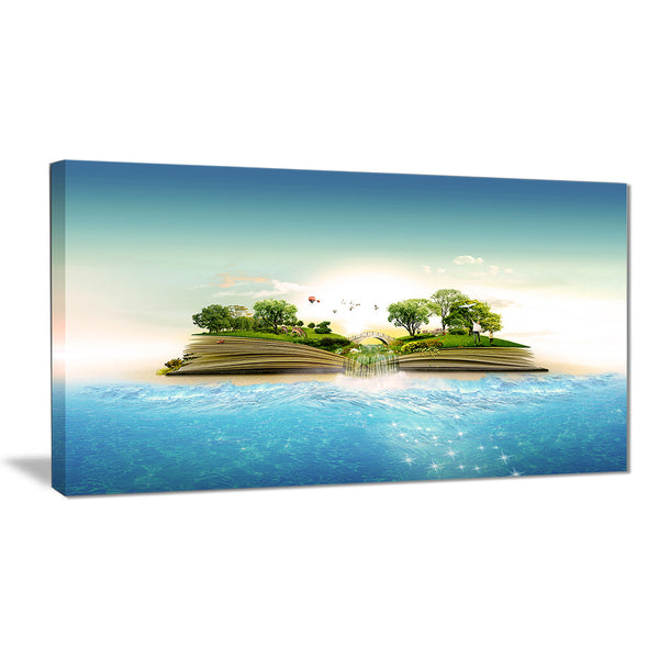 magical book about nature contemporary canvas art print PT6623