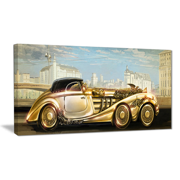 futuristic gold machine digital canvas art print PT6627