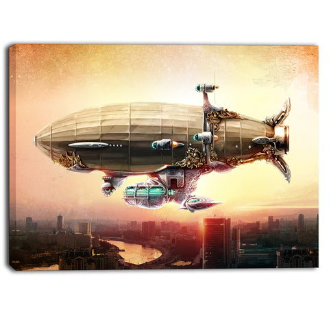 dirigible balloon in sky over city digital canvas art print PT6628