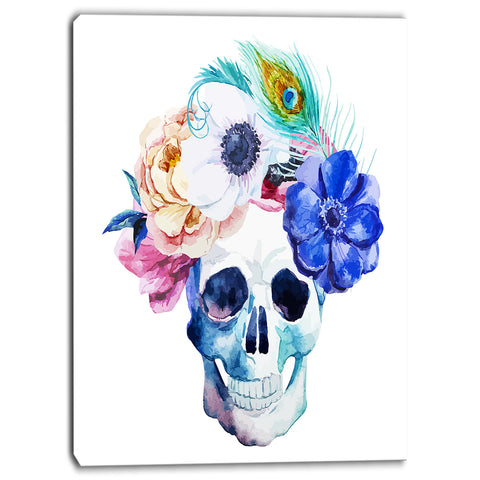 anemones and scull floral digital canvas art print PT6629