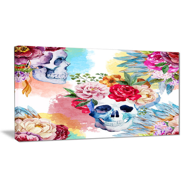ethnic skull with flowers floral canvas art print PT6631