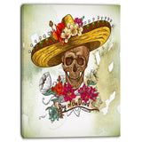 skull in sombrero with flowers digital floral canvas print PT6635