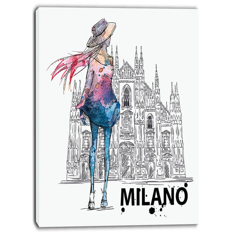 girl on a milano duomo contemporary canvas art print PT6643