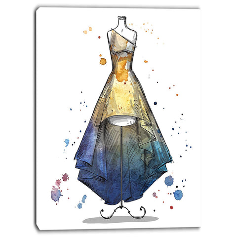 mannequin with long dress digital canvas art print PT6644