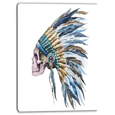 american native hat and skull digital canvas art print PT6650