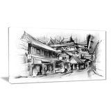 city street illustration cityscape canvas art print PT6655