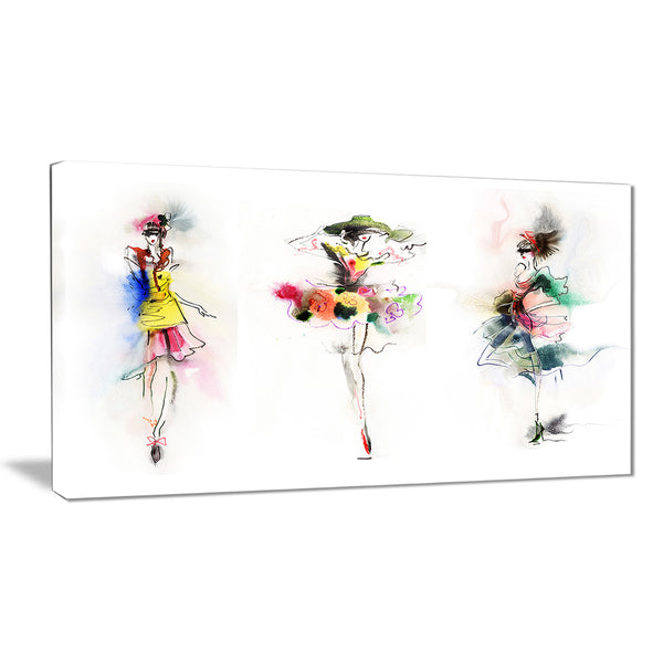 fashion girls posing contemporary canvas art print PT6662