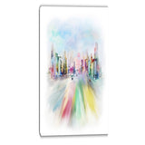 silhouette of big city digital cityscape canvas art print PT6667