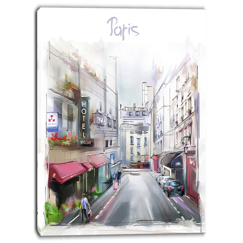 paris illustration cityscape digital canvas art print PT6669