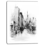 black and white city cityscape canvas art PT6670