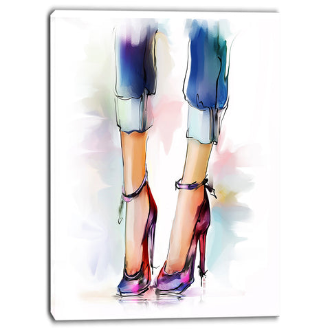 female legs and shoes digital print on canvas PT6672