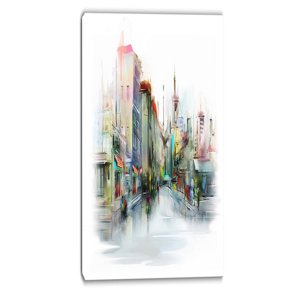 illustration of city street cityscape canvas print PT6677