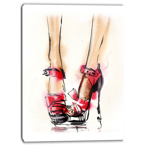 high heel fashion shoes digital canvas art print PT6686