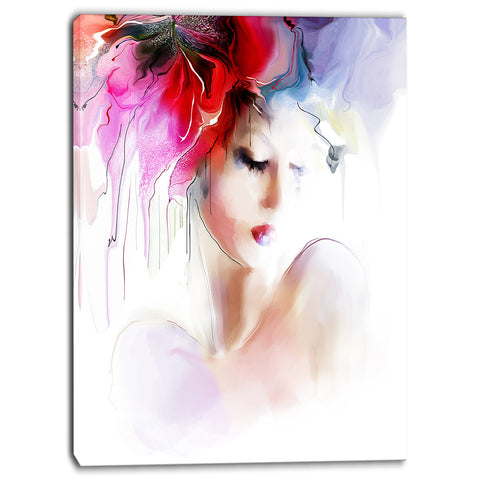fashion woman illustration digital canvas art print PT6697