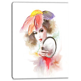 woman in dressing digital canvas art print PT6698
