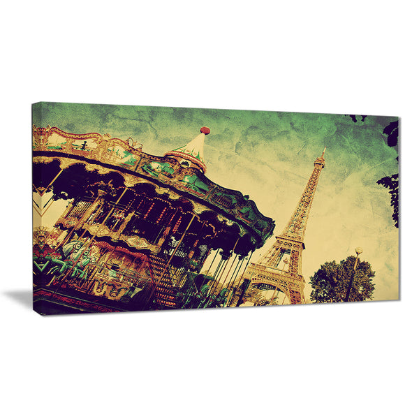 eiffel tower retro style landscape canvas print PT6701