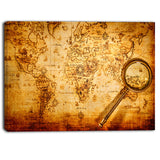 magnifying glass on world map digital canvas art print PT6703