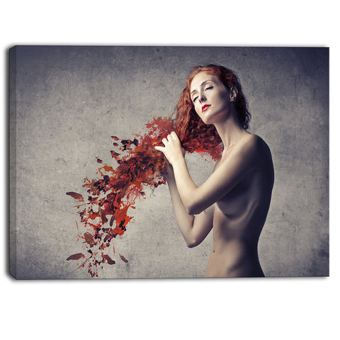 from red hair to leaves contemporary canvas art print PT6704