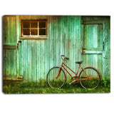 old bicycle against barn landscape photo canvas art print PT6706