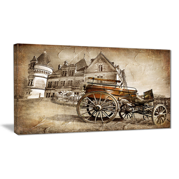 medieval castle with carriage contemporary canvas art print PT6714