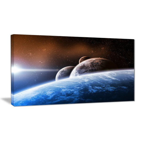 space planet landscape digital canvas art print PT6719