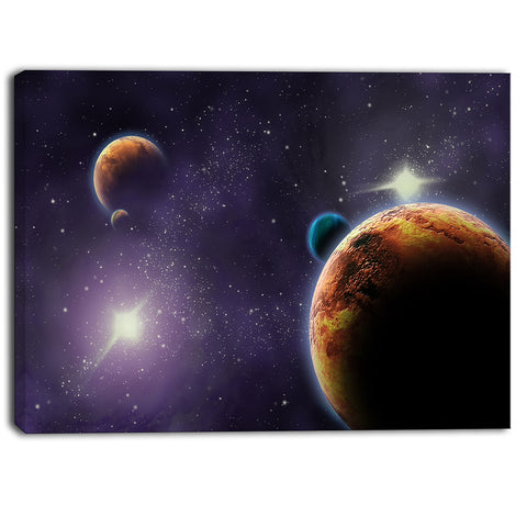 planets in deep dark space contemporary artwork PT6721