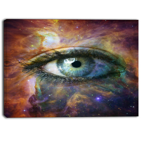 human eye looking in universe contemporary canvas art print PT6724
