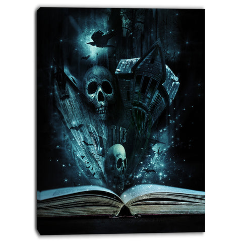halloween stories book contemporary canvas art print PT6728