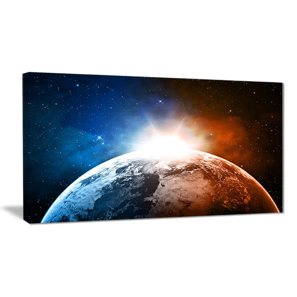 planet with sunrise in space contemporary canvas art print PT6741