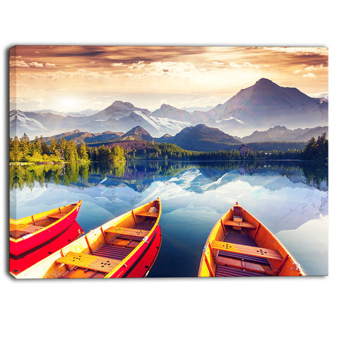 boats heading to lake landscape canvas art print PT6748