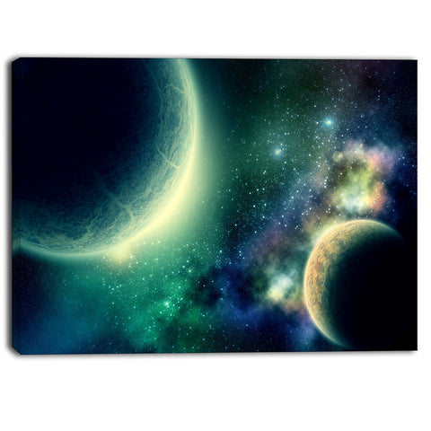 two planets digital canvas art print PT6762