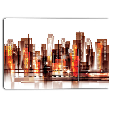 brown city skyline cityscape canvas art print PT6766
