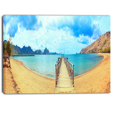 komodo panorama with pier landscape photo canvas print PT6783
