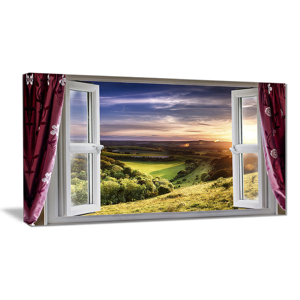 window view landscape contemporary canvas art print PT6786